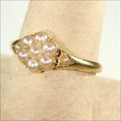 English Victorian Pearl Cluster Ring in 18k Gold from vsterling on Ruby Lane