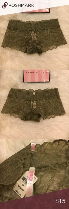 """PINK Floral Lace Boyshort Brand new with tags never worn before Victoria's Secret PINK Floral lace boyshort! The color is """"light jade"""" and currently and SOLD OUT color!  Details:  Low rise with pretty floral lace, this boyshort is super sweet! * Floral galloon lace * Lace trim waistband * Low rise * Imported nylon/spandex  No trades No lowballing ✅Bundle Discount  Authentic items  Ask about using Ⓜ️erc! PINK Victoria's Secret Intimates & Sleepwear Panties"""