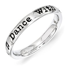 Gift ?? Sterling Silver Stackable Expressions Lyric Dance with Me Ring