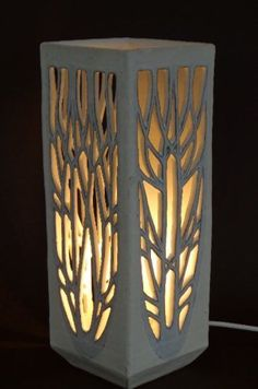 Ceramics by Ray Macro at Studiopotterycouk - 2016 Table Lamp click now for info. Raku Pottery, Slab Pottery, Thrown Pottery, Ceramic Lantern, Ceramic Light, Ceramic Lamps, Ceramic Table, Ceramica Artistica Ideas, Cerámica Ideas