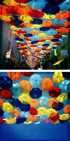 Umbrella canopy / Agueda, Portugal More about this work in: #umbrellas #chapeus #https://www.facebook.com/UmbrellaSkyProject