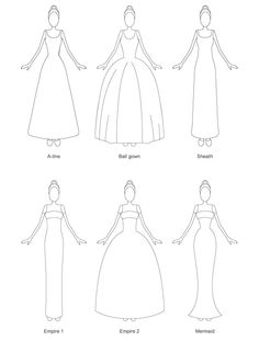 What are the most important wedding dress silhouettes www. Source by kegtextiles dresses sketches Wedding Dress Sketches, Diy Wedding Dress, Wedding Dress Styles, Wedding Dress Silhouette, Fashion Silhouette, Fashion Drawing Dresses, Dress Fashion, Recycled Fashion, Recycled Clothing