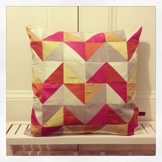 luxurious #oakshott silk HST cushion...this fabric is even more beautiful in real life by blueberry4park, via Flickr