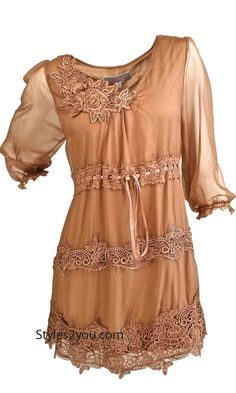 Starla Vintage Tunic In Brown
