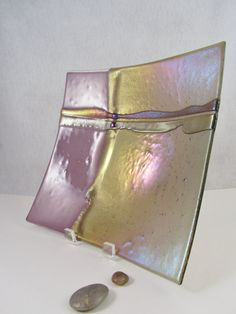 Fused Glass Bowl Square Bowl in Lavender by AlteredElementsGlass