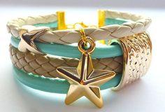 Złota+gwiazdeczka.+Mięta+-+krem+-+biel+w+biżuteria-liluart+na+DaWanda.com