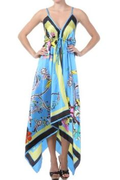 DIY Handkerchief Dresses | ... Handkerchief Hem Criss Cross Back Adjustable Maxi / Long Dress - Blue