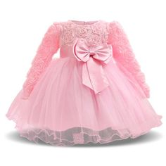 Girl Dresses Christening Gown New Infants Dress Floral Bow Baby Princess Dress for Baby Girl Clothes