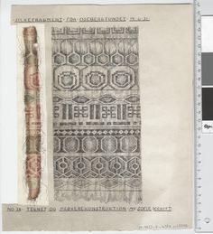 Oseberg Findings from folder 'Oseberg, textiles - silk': Silk Fabric 5, fragment 28. The character of Sofie Krafft: a / ink drawing ('trying construction') and b / watercolor ('character') and cut out. Measure A / B: 23 cm, H: 27.2 cm, b / B: 3.5 cm, H: 22 cm.