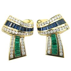 KRYPELL Gold, Diamond, Emerald, and Sapphire earrings
