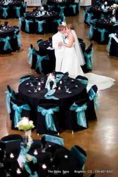 Black and turquoise wedding