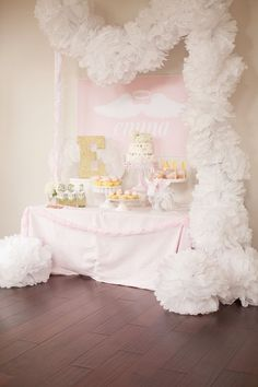 Little Angel 1st Birthday Party via Kara's Party Ideas .com #AngelParty #LittleAngel #PartyIdeas #FirstBirthdayParty #1stBirthday