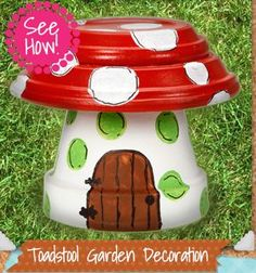 Clay Pot Toadstool Garden Decoration Tutorial -Upcycle Terracotta Pots and Saucers into these colorful Toadstools that will add colour and personality to your home Flower Pot People, Clay Pot People, Flower Pot Art, Flower Pot Crafts, Clay Pot Projects, Clay Pot Crafts, Diy Clay, Art Projects, Painted Flower Pots
