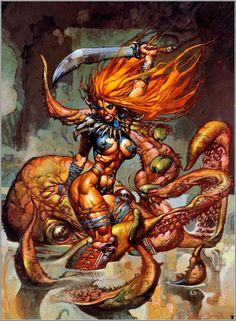 Metallian Valedor Barbarian Retro Art \👊/ (Looks like a Simon Bisley work to me. Simon Bisley, Fantasy Kunst, Dark Fantasy Art, Fantasy Artwork, Dark Art, Comic Book Artists, Comic Artist, Comic Books Art, Frank Frazetta