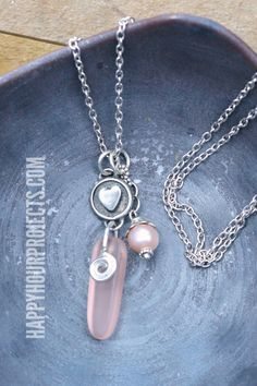 Sea Glass + Pearl Charm Necklace - Happy Hour Projects