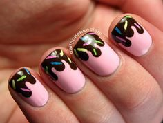 Strawberry Ice Cream With Chocolate Sauce and Sprinkles Nails - Nail Polish Society