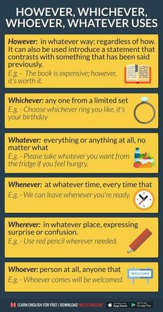 Whatever, whichever, whoever. Advanced English Grammar, English Grammar Rules, Learn English Grammar, English Writing Skills, English Fun, English Tips, Grammar And Vocabulary, English Idioms, English Phrases