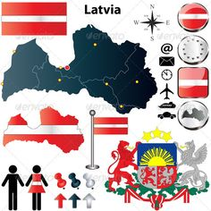 Latvia Map Vector set of Latvia country shape with flags, buttons and icons isolated on white background. Package contains: EPS version), JPG pixels, RGB ) Created: GraphicsFilesIncluded: VectorEPS Layered: No MinimumAdobeCSVersion: CS Tags: Daugavpils