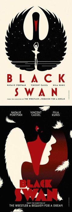 La Boca, a London-based design studio made these very stunning and art deco inspired posters for the movie, Black Swan