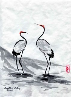 Cranes Original Sumi-e or Chinese Brush Painting by Aelwyn Studios.   I have always loved cranes. Their mating dances are quite impressive. They are a popular subject for oriental artwork. This pair was an experiment in even more pronounced minimalism.