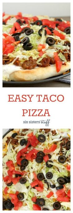 Super Easy Taco Pizza recipe from SixSistersStuff.com | Pizza Ideas | Kid Approved Dinner Idea