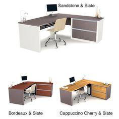 $536 Bestar Connexion L-desk with Oversized Pedestal   Overstock.com Home Office, Office Desk, Wholesale Office Supplies, L Desk, Marketing Office, L Shape, Pedestal, Corner Desk, Drawers