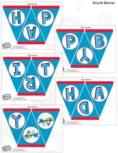 Smurfs Birthday Banner Digital File PRINTABLE DIY  by MetroEvents, $5.98