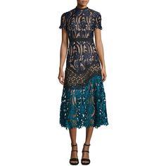 b71b4637780c9 Self Portrait Floral-Lace Prairie Midi Dress ($510) via Polyvore featuring  dresses,