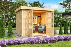 Tuinhuis Askola 2 in een onbehandelde blokhut uit de Woodfeeling collectie van het Duitse A-merk Karibu. Tuinhuis Askola 2 van Karibu biedt met zijn afmetingen van ca. 2 x 2 meter volop ruimte voor o.a. het bergen van je tuinmeubelen, gereedschap of fietsen. Deze houten tuinberging is eenvoudig zelf op te bouwen en dus de perfecte keuze voor de doe-het-zelver. Outdoor Furniture Sets, Outdoor Decor, Outdoor Structures, Home Decor, Products, Decoration Home, Room Decor, Home Interior Design, Gadget