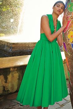 Parted Emerald Dress
