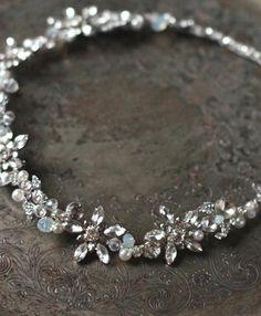 Pelo novia vid casco de cristal Opal Halo peluca por EnzeBridal