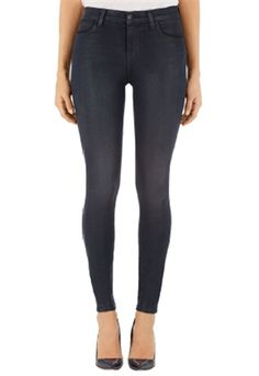 J Brand Maria High-Rise Super Skinny Jean in Forbidden | ShopAmbience.  The J Brand Fabric is a super soft polished,sexy jean.  #JBrandJeans #'SkinnyJeans