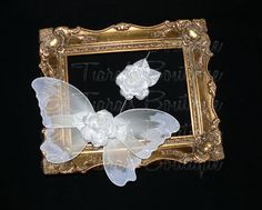 Baby Butterfly Wings and Flower Headband Set  White by TiarasTutus, $30.00