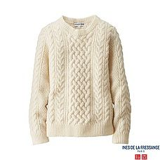WOMEN ローゲージケーブルクルーネックセーター(長袖)