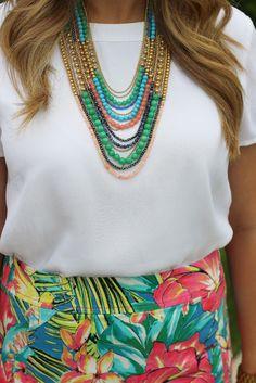 LOFT Tropical Floral Pencil Skirt