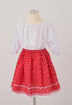 Hungarian dress, little girl skirt Little Girl Skirts, Little Girls, Cotton Lace, Tulle, Red, Dresses, Fashion, Gowns, Moda