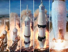 size: Metal Print: Composite 5 Frame Shot of Gantry Retracting While Saturn V Boosters Lift Off to Carry Apollo 11 by Ralph Morse : CLICK Visit link for more details Apollo 11 Launch, Apollo 11 Mission, Moon Missions, Apollo Missions, Neil Armstrong, Stephen Hawking, Constellations, Cosmos, Apollo Space Program