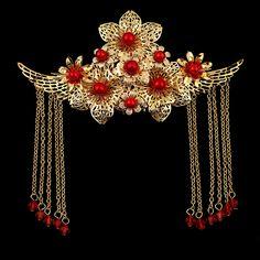 新娘紅色古裝皇冠鳳冠發飾中式發梳 結婚禮服婚慶攝影飾品頭包郵-淘寶台灣,萬能的淘寶