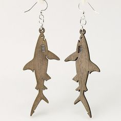 Great White Sharks  Laser Cut Wood Earrings by GreenTreeJewelry, $12.95