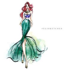Art Style: Fashion Illustration Artist Search: Elita San Juan  IP: Ariel
