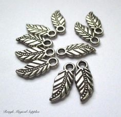 Leaf Charms Silver Charms Antique Silver Metal Leaves 16mm Small Pendants Etched Leaves Earring Dangles Bracelet Components 10 Pieces  SP766 by RoughMagicalSupplies on Etsy