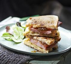 This speedy comforting snack has everything you want from a sandwich – melty cheese, salty ham and a touch of sweet fruit Brie Sandwich, Sandwich Recipes, Fig Recipes, Bbc Good Food Recipes, Gourmet Recipes, Nigella Lawson, Grilled Ham, Onion Tart, Cranberry Cheese