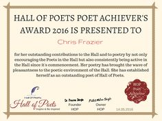 The first Honour on the occasion of First anniversary of the Hall Of Poets is presented to the...