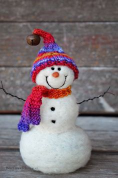 Solid wool needle felted Snowman 613 by BearCreekDesign