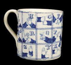 A Staffordshire blue and white printed pottery alphabet mug, decoraed with sign language squares of letters, high, circa 1825 (see illustration on website) Provenance: The Robinson Collection, also label for T. Ceramic Cups, Ceramic Pottery, Pottery Art, Ceramic Art, Blue And White China, Blue China, Delft, Chinoiserie, Alphabet Mugs