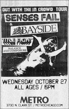 Senses Fail - Bayside - Title Fight - Balance and Composure Tour Posters, Band Posters, Senses Fail, Concert Posters, Movie Posters, Pop Punk, Bob Dylan, Khaki Shorts, Great Bands