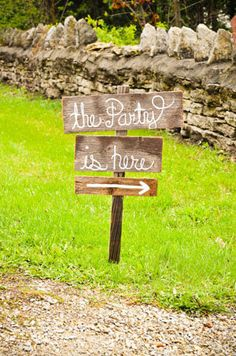 The Party Wedding Sign. Kids Party Sign, Party Signs, Rustic Signs, Directional Arrow Sign. Road Signs, Street Sign. Eco Friendly Signs