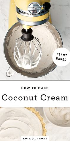 Learn how to make coconut whipped cream with this easy recipe! Light & fluffy it's the perfect creamy topping for cakes pies tarts and more. Vegan and gluten-free! Recipes With Coconut Cream, Coconut Whipped Cream, Vegan Ice Cream, Cream Recipes, Oats Recipes, Vegan Dessert Recipes, Coconut Desserts, Corn Recipes, Fruit Recipes