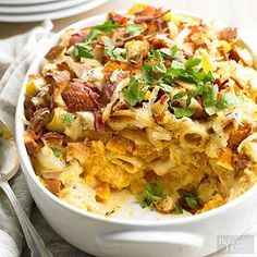 All the fixings of incredible mac and cheese-pasta, crispy bacon, caramelized onions, and a creamy-sharp cheese sauce-mingle perfectly with butternut squash./