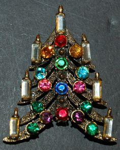 Vintage HOLLYCRAFT CHRISTMAS TREE w/CANDLES Pin/Brooch Very Nice! | eBay